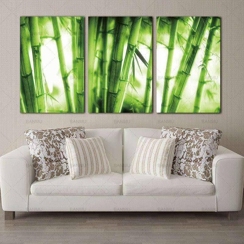 3 Piece Green Bamboo Forest Canvas