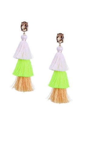 Crystal Layered Tassel Earrings | Tangerine/Neon Yellow/White/Topaz