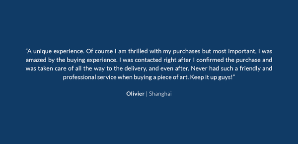 A positive testimonial from a client in Shanghai about the wonderful service he received from Subject Matter Art when buying a Zoo Portrait artwork.