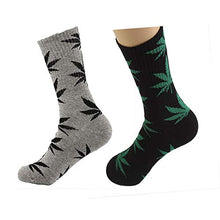 Load image into Gallery viewer, TTD 4 Packs Unisex Weed Leaf Printed Cotton Socks Maple Leaf Printed Socks Athletic Sports Marijuana High Crew Socks