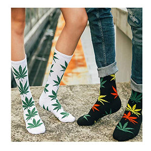 TTD 4 Packs Unisex Weed Leaf Printed Cotton Socks Maple Leaf Printed Socks Athletic Sports Marijuana High Crew Socks