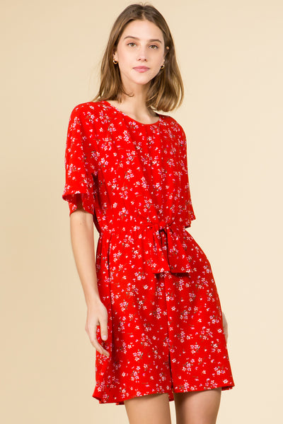 TIE FRONT RED FLORAL MINI DRESS