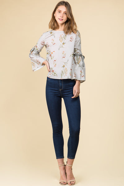 TIE RUFFLED SLEEVE FLORAL TOP