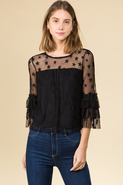 COLD SHOULDER ILLUSION RUFFLED SLEEVE TOP IN STAR MESH
