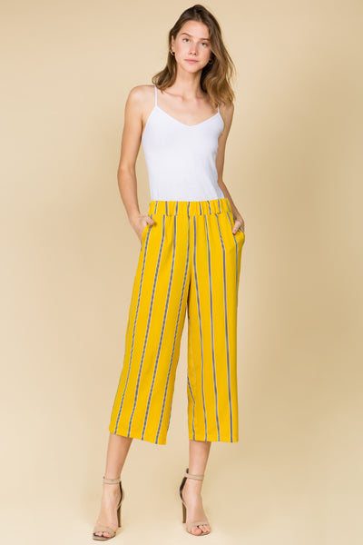 STRIPE GAUCHO PANTS WITH ELASTIC WAIST