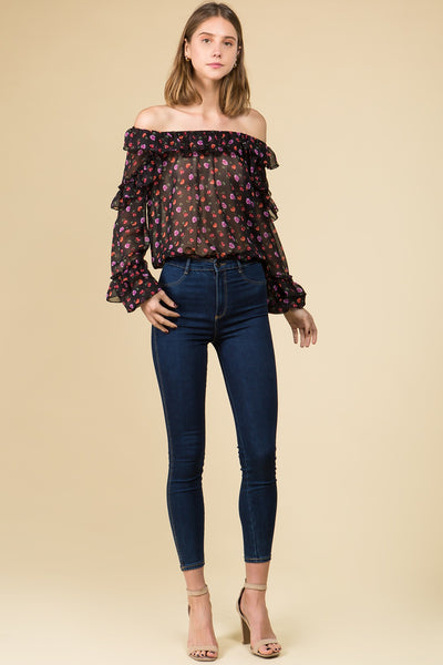 BLACK SHEER ROSE PRINTED CHIFFON OFF THE SHOULDER RUFFLED TOP