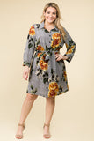 PLUS SIZE SHORT SLEEVE FLORAL DRESS