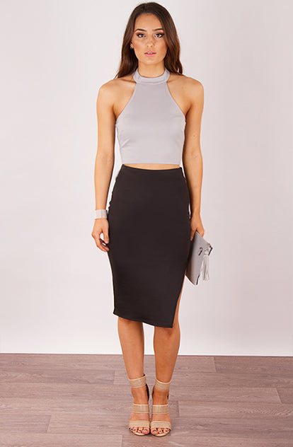 High Waisted Midi Skirt in Black front