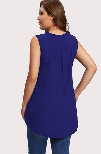 To Cute Sleeveless Top in Blue Back