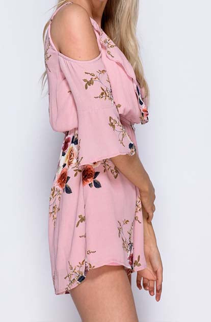 Eden Cold Shoulder Playsuit in pretty pink with flowers side