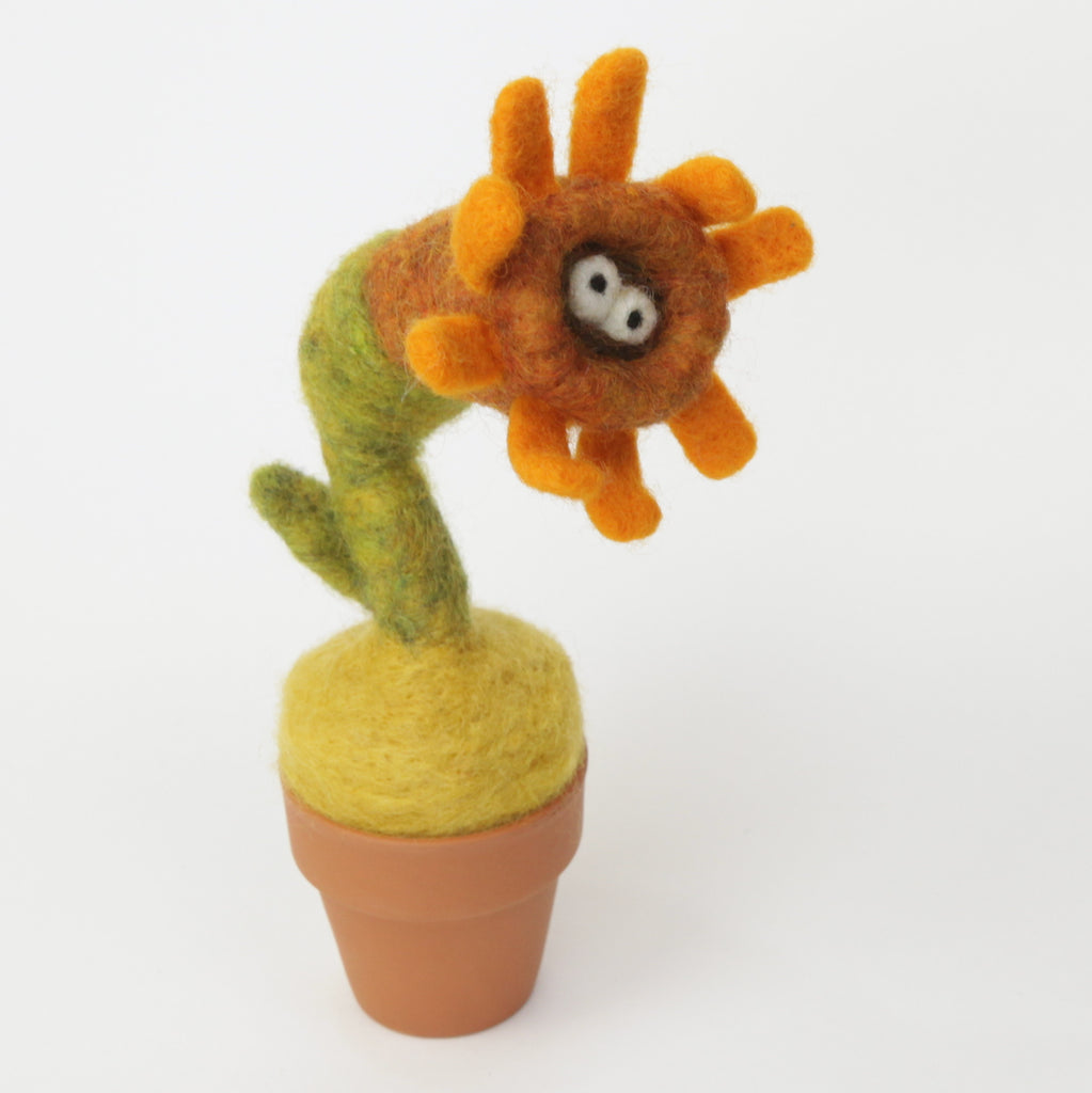 Needle Felting Sunflower Monster with clay pot