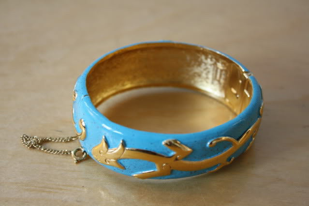 Trifari Enamel and Gold Plate Dragon Bracelet