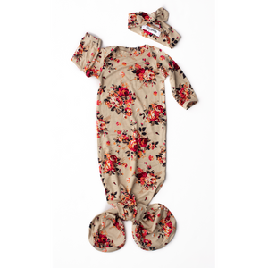 Gigi and Max - Gianna Floral Handmade Knotted Newborn Gown w/ Headband