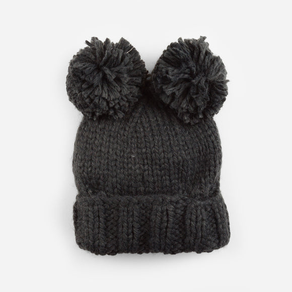 Charcoal Paxton Pom Pom Knit Hat