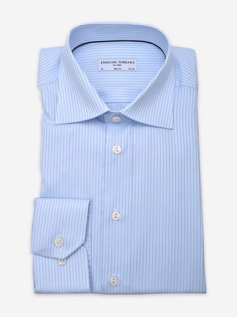 Light Blue & Blue Striped Poplin Shirt