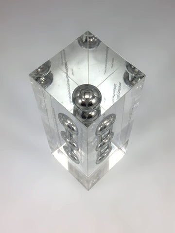 Silver Carbon Molecule Encapsulated in Clear Acrylic Award