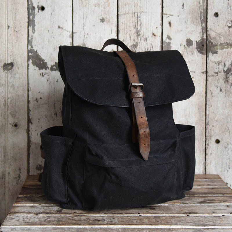 The Rogue waxed canvas Backpack in Coal Black