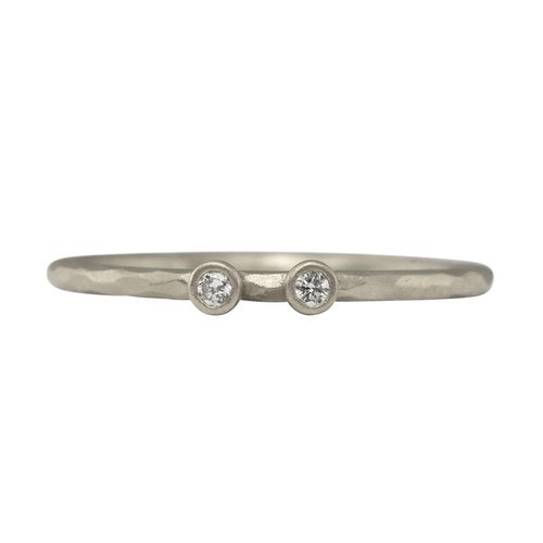 Facet Two Diamond Stacking Ring - Sterling