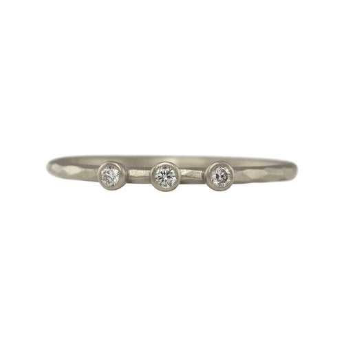 Facet Three Diamond Stacking Ring - Sterling