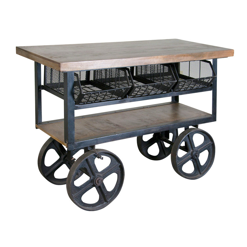 Mango Wood and Iron Console Trolley