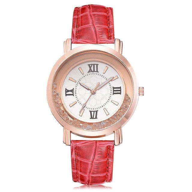 Rhinestone and Leather Wristwatch-American Aura