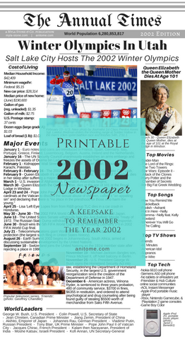 2002 Newspaper. A printable newspaper that summarizes the year 2002. World leaders, Popular culture, Major events, Cost of living, and Technology for the year 2002. #2002 #Newspaper #Printable #Babybook #Scrapbook