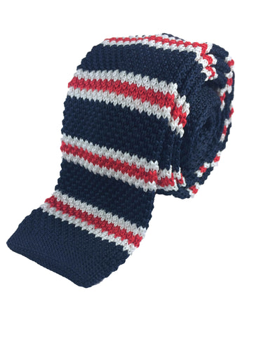 Navy with Red/White Bar Stripe Knit