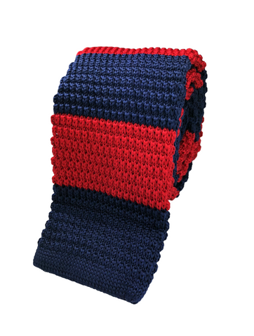 Red and Navy Stacked Knit