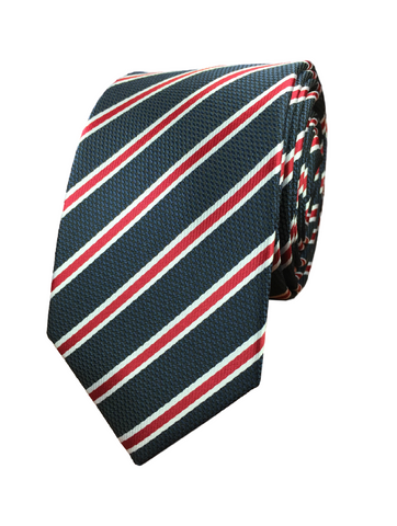 Red and Navy Repp Stripe
