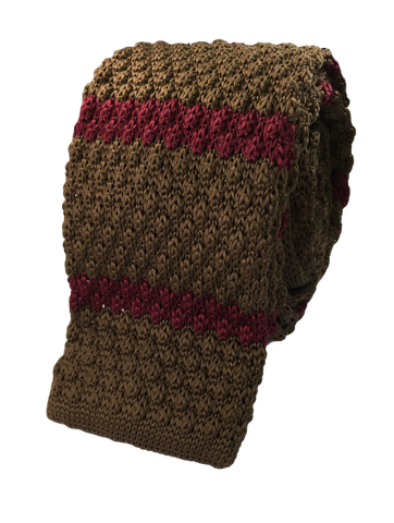 Copper Brown with Maroon Stripe Knit