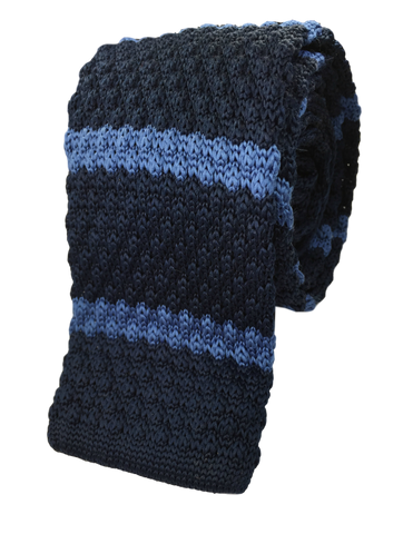 Navy with Cerulean Blue Stripe Knit