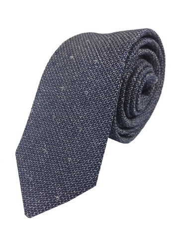 Navy Embroidered Tie
