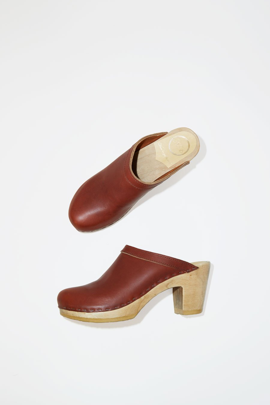 No. 6 Old School Clog on High Heel in Bourbon