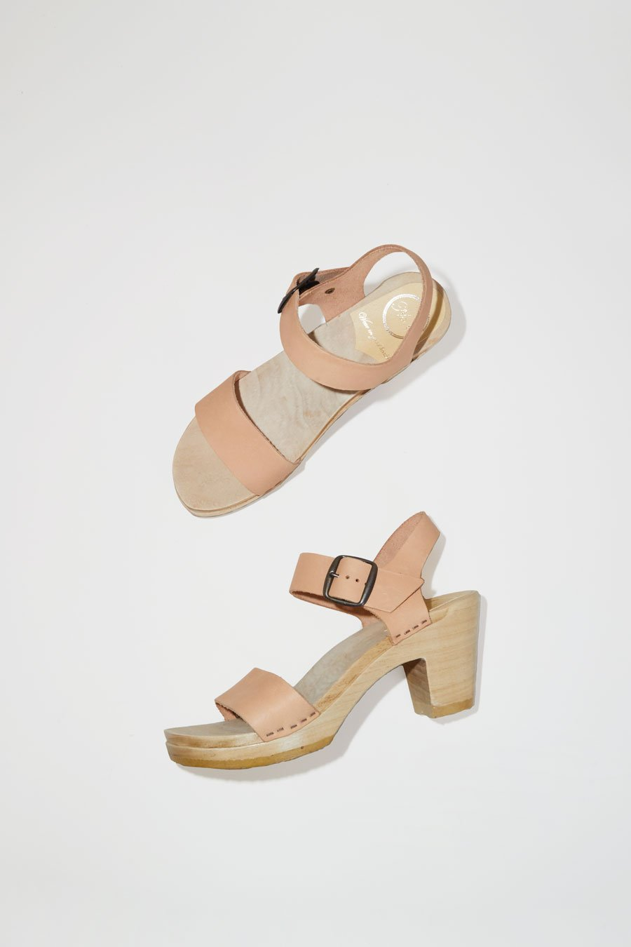 No. 6 Two Strap Clog on High Heel in Naked