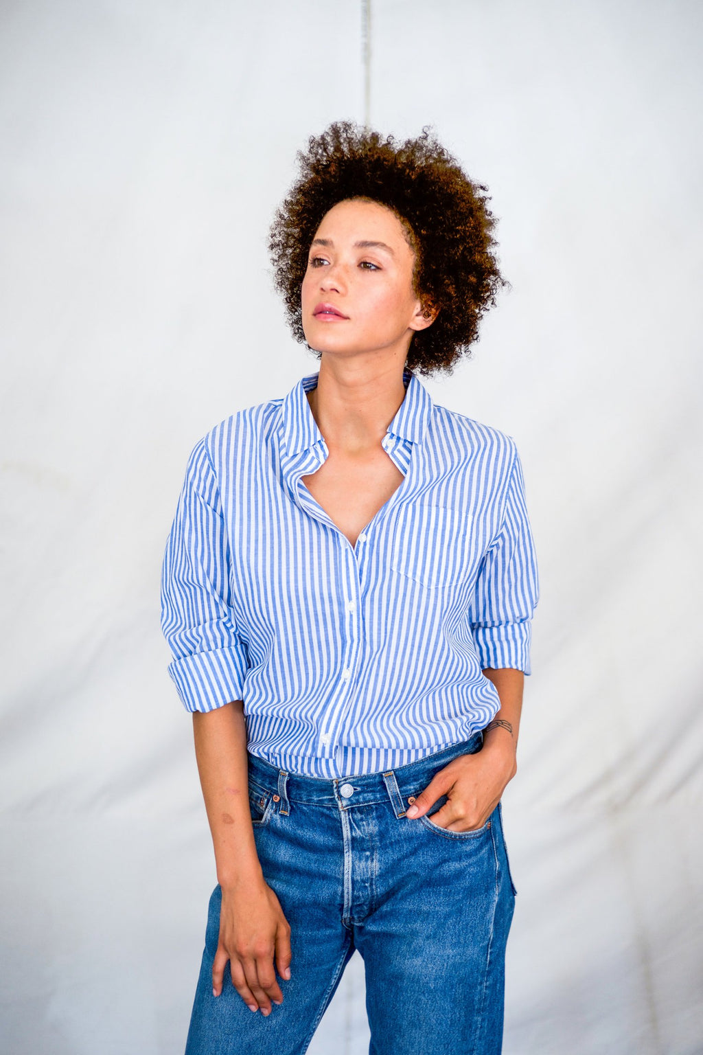 Trovata Grace Classic Shirt in Blue Stripe
