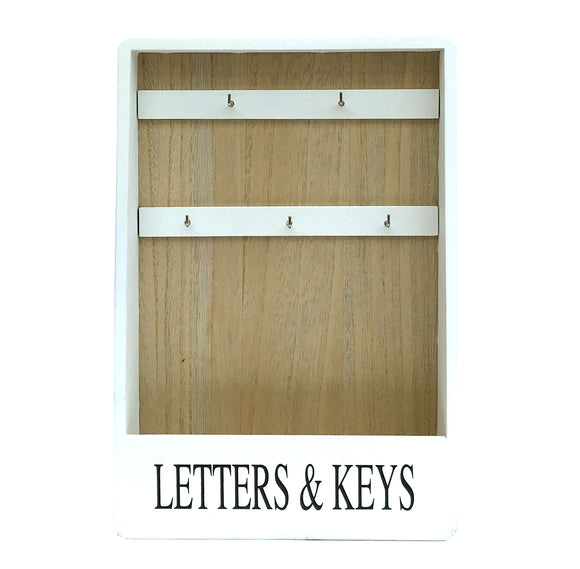 White Painted and Natural Wood Wall Hanging or Table Standing Letter and Key Hook Rack