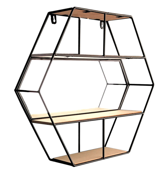 Hexagonal Wall Hanging Shelf Unit with Mirror and 3 Shelves