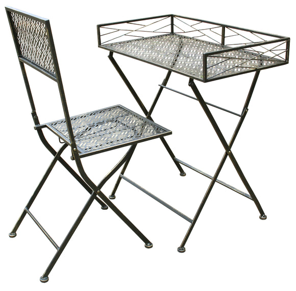 Folding Metal Desk And Chair Set