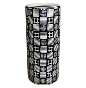 Deep Blue and Speckled Grey Squares and Circles Design Ceramic Umbrella, Stick Stand or Vase
