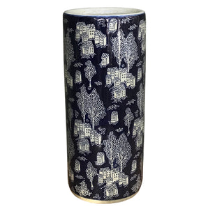 Deep Blue and Speckled Grey House and Tree Design Ceramic Umbrella, Stick Stand or Vase