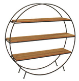 Round Black Metal and Wood Effect Table Top Sectional Shelf Unit