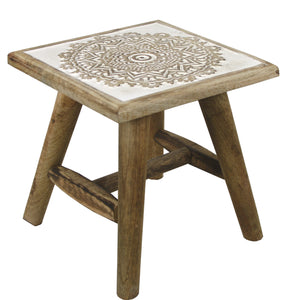 Rustic Wooden Stool or Plant Stand with White Painted Hand Carvings - Assorted Designs