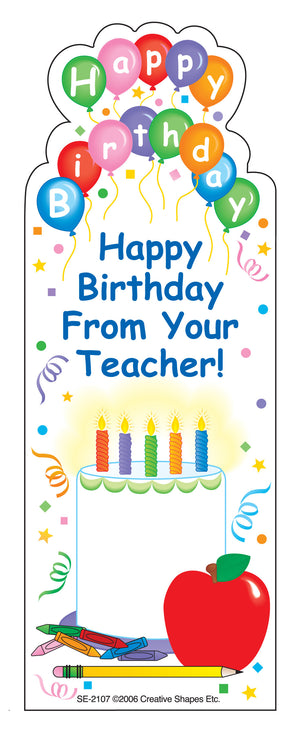 """From Your Teacher"" Bookmarks - Birthday - Creative Shapes Etc."