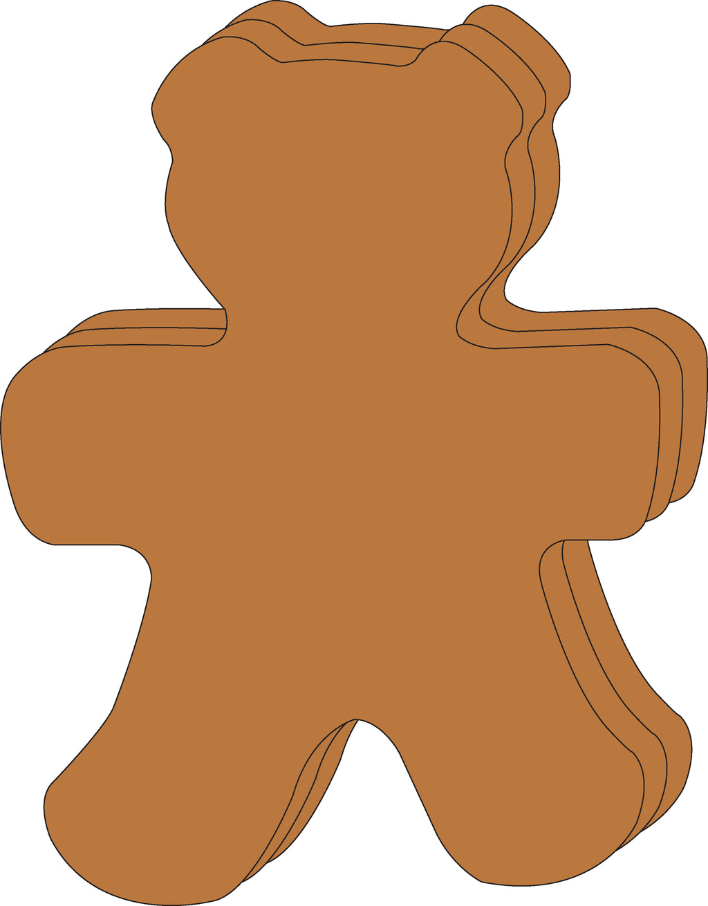 "8"" x 10"" Teddy Bear Single Color Super Cut-Outs, 15 cut-outs in a pack for Teddy Bear Picnics, Spring Crafts, Kids' School Craft Projects."