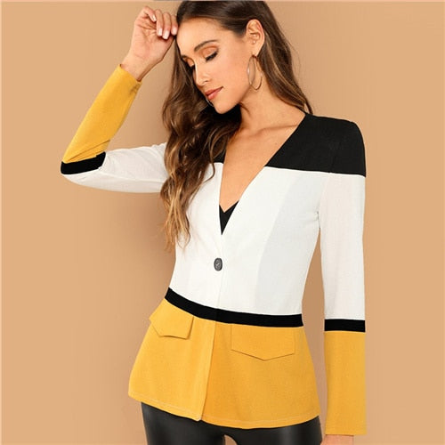 SHEIN Multicolor Office Lady Colorblock