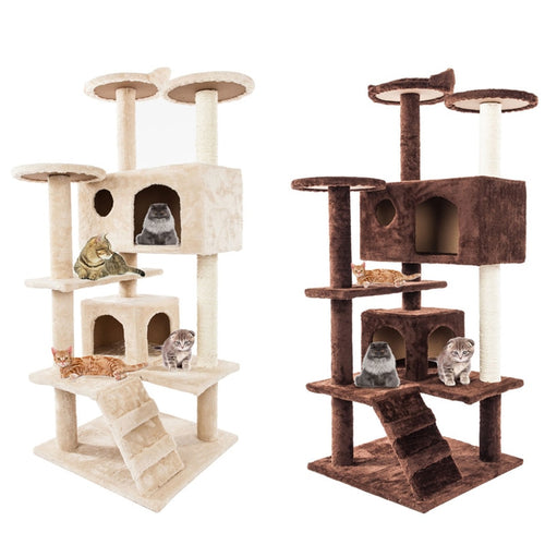 Cats Scratching Wood Climbing Tree
