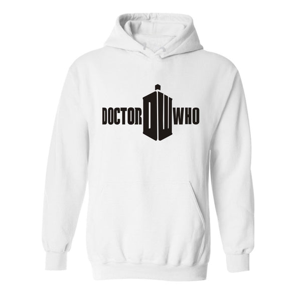 Doctor Who Logo Hoodie Hooded Sweatshirt Pullover White