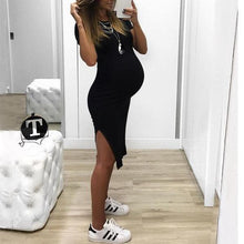 Load image into Gallery viewer, Maternity Side Slit Knee-Length Dress