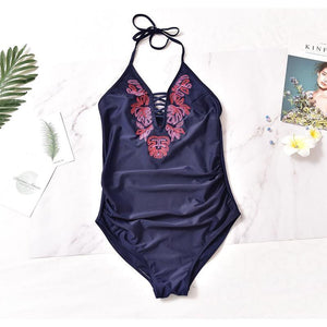 Maternity Sexy Embroidered One-Piece Swimsuit