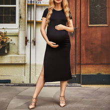 Load image into Gallery viewer, Maternity Solid  Side Slit Full Length Dress